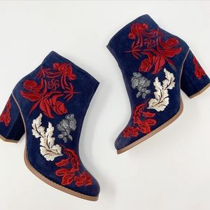 BILL ELLA - Floral Blue Suede Embroidered boots 7